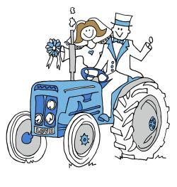 Wedding clipart tractor