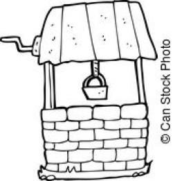 Wishing Well clipart black and white