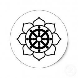 Drawn lotus dharma wheel