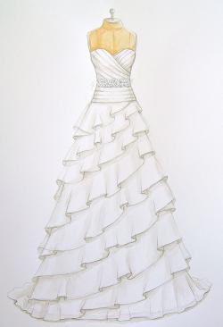 Drawn wedding dress nice dress