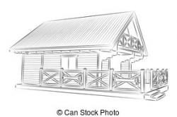 White House clipart wooden house