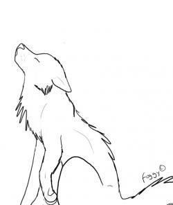 Drawn howling wolf husky