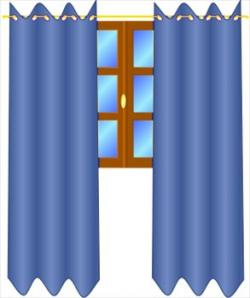 Window clipart blue curtain