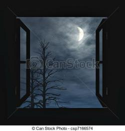 Drawn night sky night window