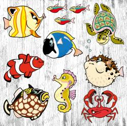 Crab clipart seahorse
