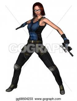 Woman Warrior clipart futuristic