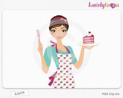 Women clipart baking cake