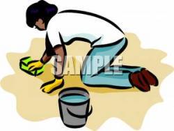 Women clipart cleaning floor