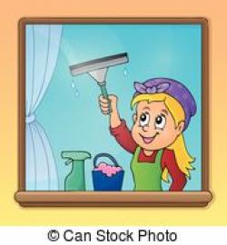 Women clipart cleaning windows