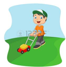 Women clipart mowing lawn