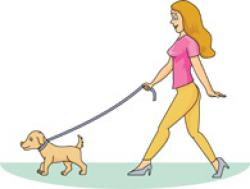 Women clipart walking dog