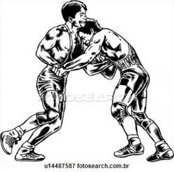 Wrestler clipart black and white