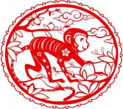 Year Of The Monkey clipart paper cut