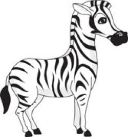 B&w clipart zebra