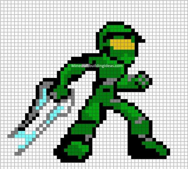 Drawn pixel art halo 4